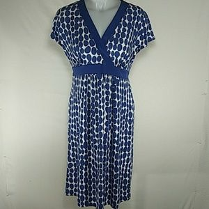 Motherhood Maternity Blue White Polka Dot Dress
